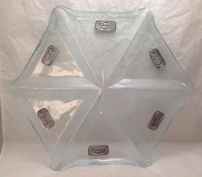 Jewish Passover Pessach Octagon Glass Seder Plate, Medallions English/Hebrew