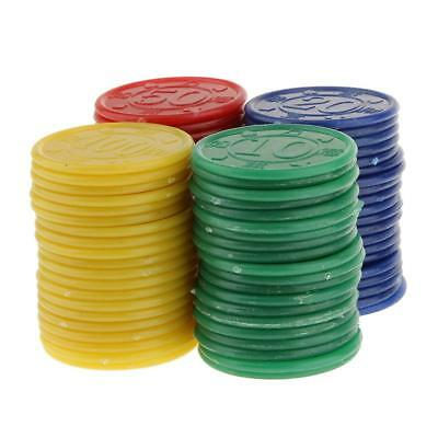 80 X Plastic Tokens / Poker Chips / Counters + Case Casino Cards Game Toy