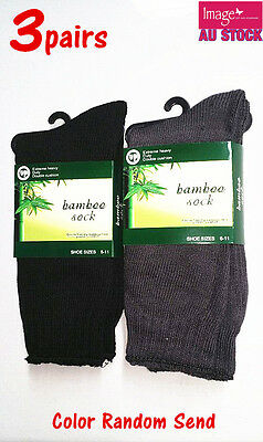 3 Pairs Bamboo Socks Men's Work Socks Heavy Duty Size 6-11 Boot Hiking 982-1