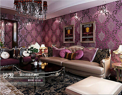 Wall Paper Wallpaper Roll Damask Embossed Feature 3D Textured Luxury Purple