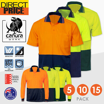 5x Hi Vis Polo Shirt Short Long Sleeve Work wear Safety Contrast Cool Dry Yellow