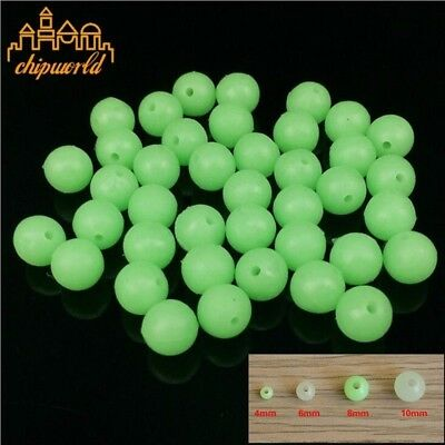 100pcs Round Fluorescent Green Beads Fishing Beads Fishing Lure Fishing Tackle