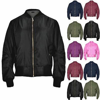 Kids Girls Boys MA1 Long Sleeves Two Front Button Pockets Padded Bomber Jacket
