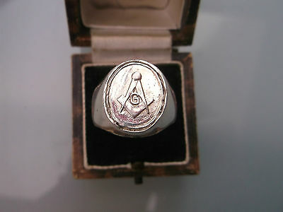 Masonic Silver Men's Ring Stamped Size T Weight 13.9g Lovely Condition