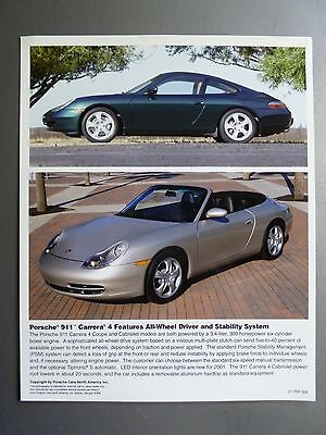 2001 Porsche Carrera 4 Coupe & Cabriolet Full Color Press Photo PCNA Issued RARE