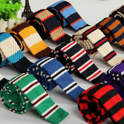 Fashion Men's Colourful Stripe Knit Knitted Necktie Tie Narrow Slim Skinny Woven