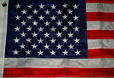 4' X 6' Us / U.s. American Flag Nylon Embroidered Solid Brass Grommets Exd