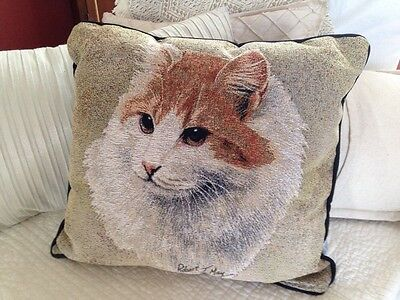 "Turkish Van Cat 17"" throw accent Jacquard Woven Tapestry Pillow USA MADE NEW"