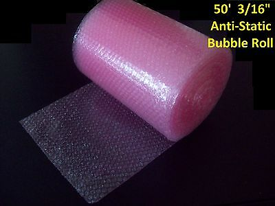 """50 Foot PINK Anti-Static Bubble Wrap® Roll! 3/16"""" Small Bubbles! Perforated!"""