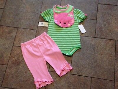 NWT Jumping Beans Pink Green 3 Pc Outfit Stripes Kitty Cat bib top Pants 6 9 mo