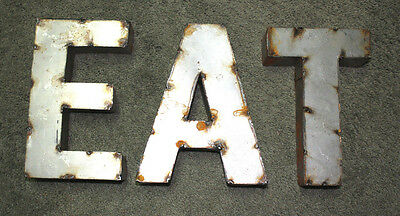 RUSTIC Metal Industrial LETTERS EAT TIN Sign GARDEN Home Ranch Decor