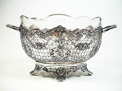J.L. SCHLINGLOFF - German Silver Basket with Glass Liner - Early 20th Century