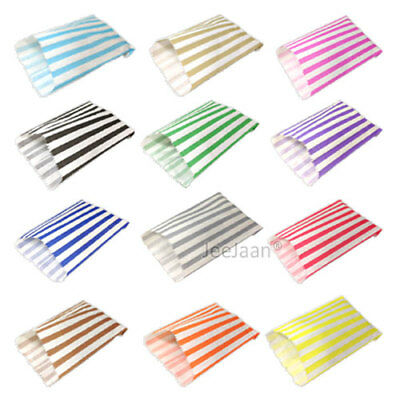 "100 Color & White Candy Stripe Paper Sweet Bags Wedding 5"" X 7"" Pick 'n' Mix Bag"