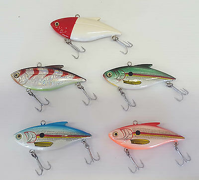 Fishing Jigging Lure 75, Hard Body, Mustad Treble, 5 Colours 15gm