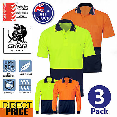 3x Hi Vis Polo Shirt Short Long Sleeve Work wear Safety Contrast Cool Dry NEW