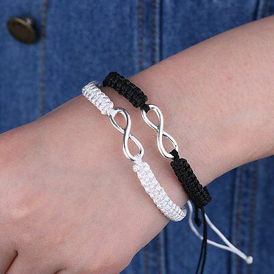 2 PCS Infinity Handmade Knit Rope 8 Shape Wristband Bracelet Bangle Lover BFF