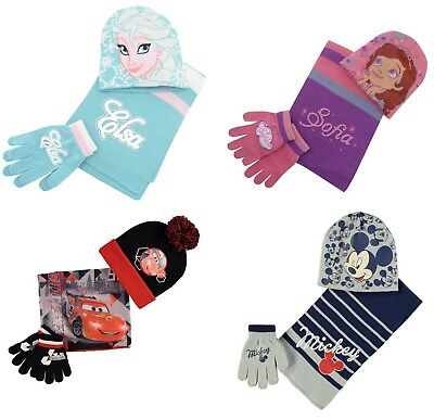 Character Knitted Kids Boy Girl Ski Snow Skate Winter Beanie Scarf, Hat & Gloves