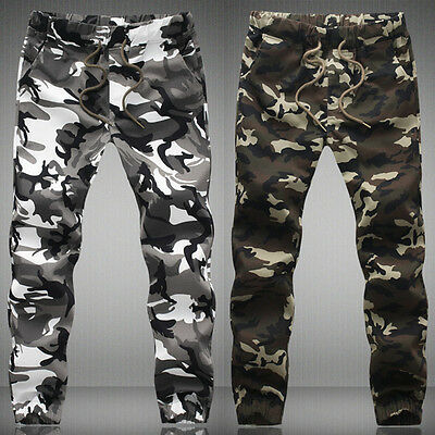 Mens Winter Fleece Lined Army Camo Cargo Combat Work Long Pants Cotton Trousers
