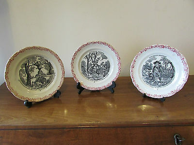 Three 19th Century French Porcelain Nursery Plates Nouvelle Questions Series
