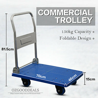 Foldable Industrial Plastic Platform Push Trolley Truck Cart Blue 150kg New