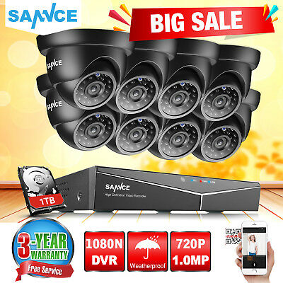 SANNCE 8CH 1080N DVR Outdoor Dome 1500TVL Home CCTV Security Camera System 1TB