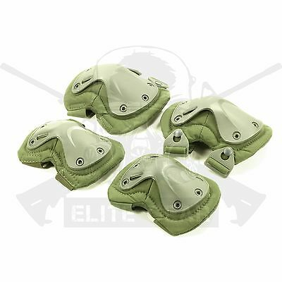 Tactical Combat Military USMC Army SWAT Olive Drab Protective Knee&Elbow Pad Set