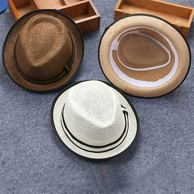 New Summer Kids Children Fedora Hat Straw Brim Cap Sun Jazz Hats Boys Girls AU