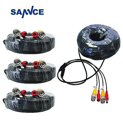 SANNCE 4Pcs 30M 100FT BNC Video Power Cable Connector Wire for Home Surveillance