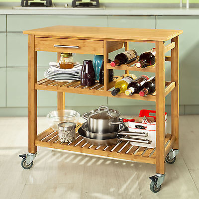 SoBuy® Wheeled Kitchen Trolley Cart with Shelves and Wine Racks, FKW23-N, UK