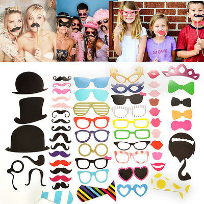 58pcs On A Stick Mustache Photo Booth Props Lip Card Wedding Party Prom Decor