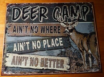 DEER CAMP Hunting Lodge Hunter Cabin Home Decor Rustic Vintage Style Decor Sign