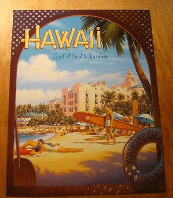 Retro Style Hawaii Waikiki Beach Surfers Wooden Surfboards Travel Sign Decor NEW
