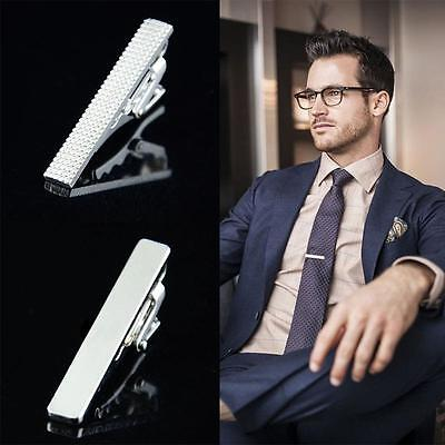 Handsome Men Metal Silver Simple Necktie Tie Bar Clasp Clip Clamp Short Mini Pin