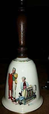 """Norman Rockwell Fine China """" Chilly Reception"""" 1980 Christmas Hand Bell."""