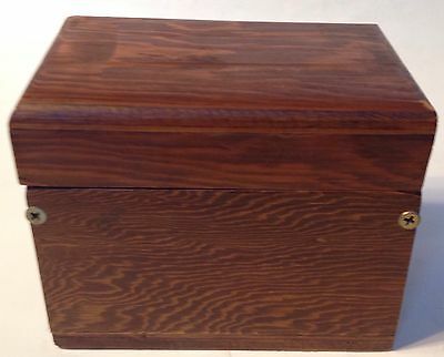 Vintage Wood Wooden Recipe Card File Box