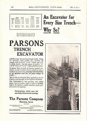1915 Parsons Model K Trench Excavator Ad: Rees Bros Contractors Quincy IL