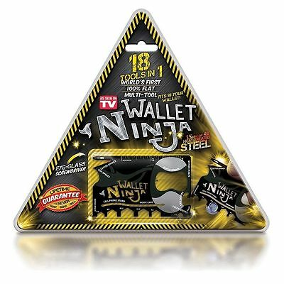 NEW 18 in 1 Wallet Ninja Credit Card Size Pocket Survival Multi-Tool knife