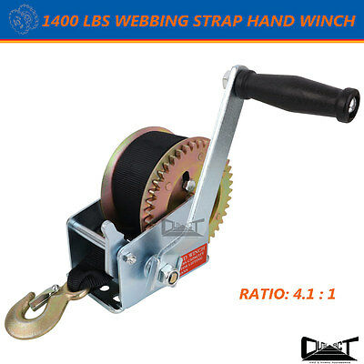 1400 LBS Heavy Duty  Hand winch 8M Synthetic Strap 4WD Boat Trailer 10043