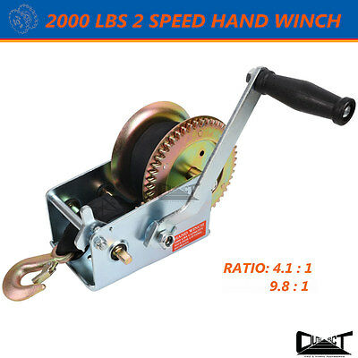 2000 LBS Hand winch 2 Speed 8M Sythetic Strap 4WD Boat Trailer 10040
