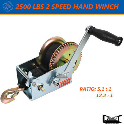 2500 LBS Hand winch 2 Speed 8M Sythetic Strap 4WD Boat Trailer 10041
