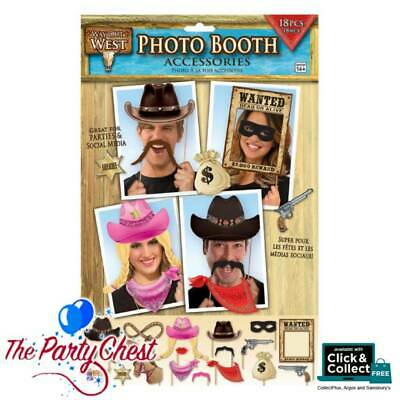 18 PCS WAY OUT WEST COWBOY Photo Booth Party Props Western Party Accessory 75902