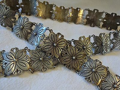 "Vintage MEXICO Heavy 184g Sterling Silver 925 Panel Concho Link BELT, 32"" Long"