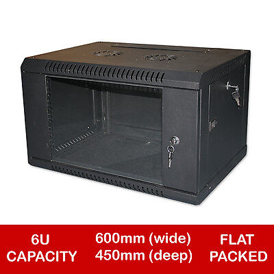 "6U 19"" BLACK NETWORK CABINET DATA COMMS WALL RACK - FLAT PACKED 450mm"