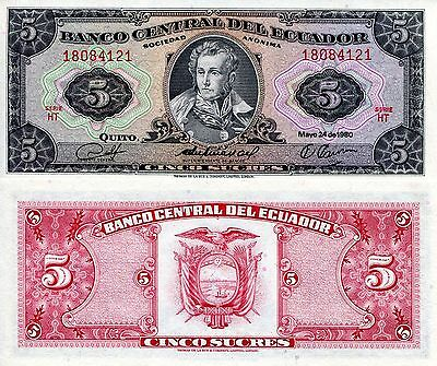 ECUADOR 5 Sucres Banknote World Money UNC Currency BILL South America Note p113c