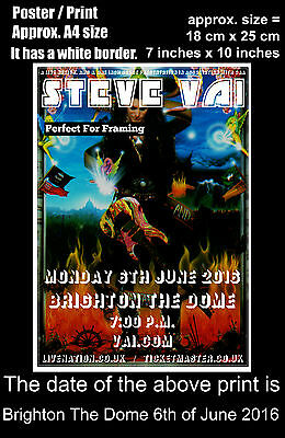 Steve Vai live concert Brighton The Dome 6th of June 2016 A4 size poster print