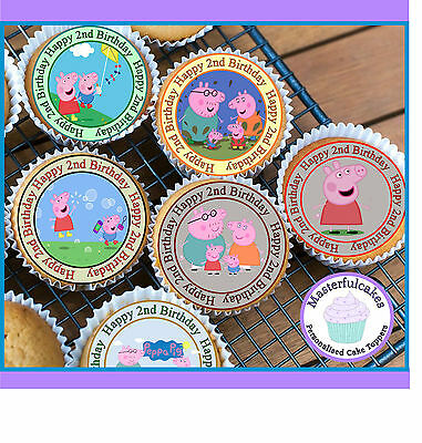 24 X Peppa Pig 2Nd Birthday Cupcake Toppers Wafer Paper, Icing Or Pre-Cut