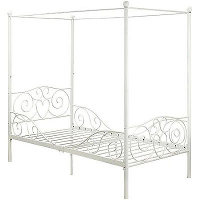 princess bed frame twin canopy furniture white metal girls bedroom kids size new
