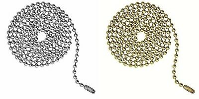 6 Feet Ball Chain~3 ft nickel 3 ft brass Lamp Ceiling Fan Pulls 3.2mm+connectors