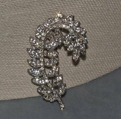 Art Deco Rhodium Plated Clear Rhinestone Pot Metal Leaf Pin Brooch
