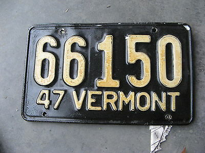 1947 47 Vermont Vt License Plate Tag 66150 Lee Roy Hartung Collection